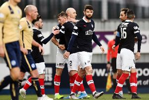 Falkirk celebrate the opener. Picture: Michael Gillen.