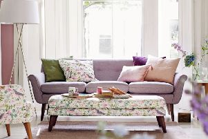 Harper sofa and footstool, and Jocelyn armchair, both in Phoebe Print fabric, available from Marks and Spencer. Photo: PA Photo/Handout