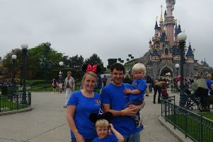LoveOliver at Disneyland Paris. Jennifer Gill, Andy Gill and sons Rory and Micah, front