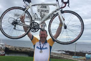 Kieran Timmons successfully completed a Lands End to John O Groats cycle raising �9000 for Cancer Research UK.