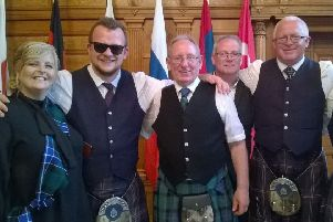 From left Councillor Carol Lindsay, James Wallace of Kirkcaldy and District Pipe Band, Robert Main, George Wallace Kirkcaldy and District Pipe Band.