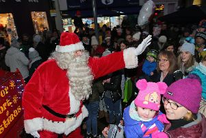 Santa was a popular visitor at the lights switch-on