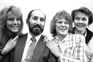 Nikola Stedul with his wife and daughters at a press conference in May 1989, delighted to hear Vinko Sindicic received a 15 year sentence