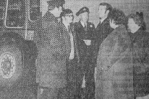 """Fife Free Press 1970 - bus strike brought Kirkcaldy to a halt for 11 weeks. Striking drivers and conductresses block drivers from Edinburgh from taking buses out of the Kirkcaldy depot - the vehicles were """"blacked"""" and not allowed to be moved."""