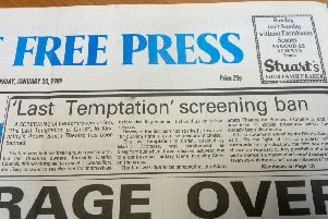January 1989 - councillors in Kirkcaldy cancel plans to show   Last Temptation Of Christ at the Adam Smith Theatre before they get private screening to approve it for public viewing