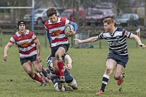 Dylan Suttie slips an Accies tackle to set up an attack with Fraser Allan in support - picture by Chris Reekie