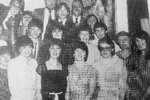 The bank staff at their annual dance in 1984