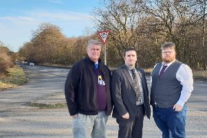 Councillors Davidson, Graham and Smart on the Standing Stane.