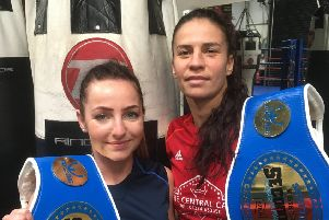 Glenrothes Boxing Club boxers Emma McCulloch and Eftychia Kathopouli