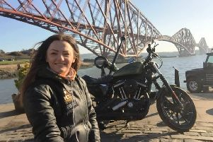 Kirkcaldy woman Cat Aitken who is riding her motorcycle across Europe on a solo trip for charity.