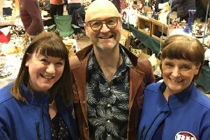 Heather Pownall, left, with Bargain Hunt's David Harper, and Elaine Jones.