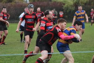 Waid winger Andrew Allen puts in a strong tackle in the victory over Crieff. Pic by Michael R Stockwell.