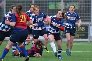 Claire Buist (fullback) on her way to score. Pic by Ian Cole.