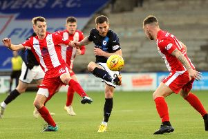 Raith's Liam Buchanan controls the ball during the Fife derby in December (Pic: Fife Photo Agency)