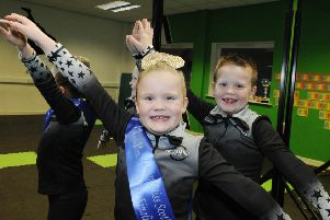 Dance mad brother and sister Lennox (7) and Chloe ( 6) Sutherland. (Pic George McLuskie).
