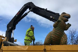 Rexie the dinosaur returns to the delight of local residents.
