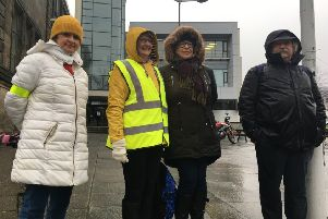 College lecturers on the picketline at Fife College Kirkcaldy for the third one-day strike over pay on March 6 this year.