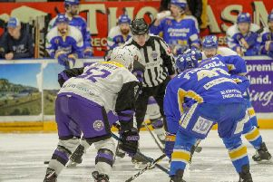A face-off between Fife Flyers and Glasgow Clan last night. Pic: Jillian McFarlane