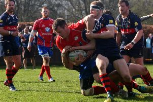 Craig Wilson is tackled to the ground during Kirkcaldy's sobering defeat to Dundee High on Saturday. Pic: Michael Booth