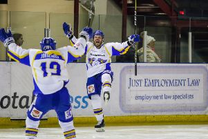 Carlo Finucci scores the overtime winner for Fife Flyers in the 2018 play-off quarter-final against Manchester Storm. Pic: Mark Ferris