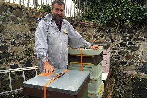 Brian Holmes - Aberdour beekeeper at his home  - April2019