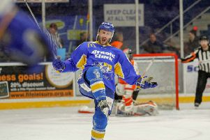 Rick Pinkston celebrates scoring the winning goal as Fife Flyers beat Sheffield Steelers by 5-4. (Pic: Jillian McFarlane)
