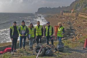 Scottish Water beach clean,. East Wemyss