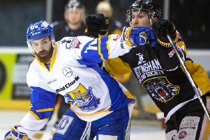 Danick Gauthier in action for Fife Flyers in the play-off quarter-final second leg against Nottingham Panthers. Pic: Josh Dixon
