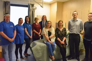 From left to right: Representatives from Fife Sands, midwifery manager Pamela Galloway, David Torrance MSP, and fundraisers Heather Slattery, Cathy and Mike Roberts, and James Slattery.
