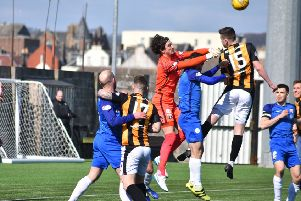 Allan Fleming punches clear a Fife attack at the weekend. Picture by Kenny Mackay.