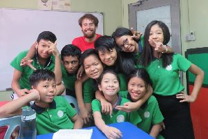 Jamie with some of his pupils.