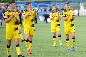 Raith players applaud the fans who had travelled to Dumfries (Pic: Fife Photo Agency)