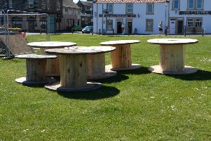 Empty cable reels on Burntisland Links where the electricity supply is being replaced by Fife Council using �100,000 from the Common Good Fund