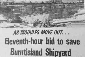 1979 Fife Free Press report on Burntisland Shipyard running out of work