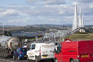 Traffic queuing on the Queensferry Crossing.