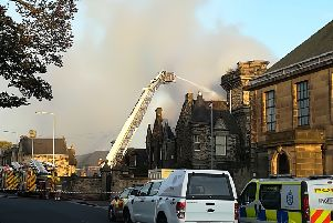 Viewforth High School, Kirkcaldy,  on fire in October 2017