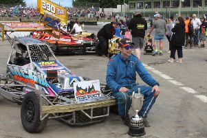 Gordon Moodie (Windygates) with World Final trophy he won last year waiting to greet the fans prior to the start of the Skegness meeting -