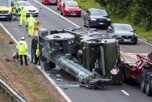 The M90 near Dunfermline in Fife has been closed southbound