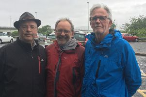 Councillor Brett and Tepp with Newport Community Council chair Andy Gillies at the bridge car park.