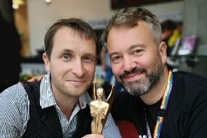 David Colvin and Tom Freeman with the Herald Angel Award for their play Thunderstruck which premiered at Dunfermline's Outwith Festival