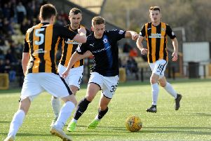 Action from the previous Fife derby at Bayview in March, which Raith won 2-1. Pic: Fife Photo Agency