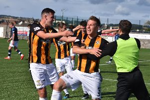 The celebrations start at Bayview after Chris Higgins puts the Methil men ahead. Pic by Kenny Mackay.