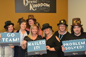 Staff from Rothes Halls, Glenrothes, were one of the first teams to have a sneak preview of the new Cryptic Kingdom escape room. From left, Sarah Napier, Margo Waddell, Janet Lawson, Caroline Livingston, Debbie McCreary, Susan Turnbull and Billy Smith.