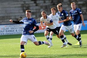 Regan Hendry strokes home his second penalty in the 2-0 win over Falkirk. Pic: Fife Photo Agency