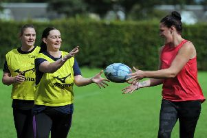 Some of the women playing rugby. Pics: George McLuskie.