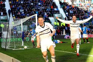 John Baird celebrates scoring the only goal of the game in the final of the Ramsdens Cup in 2014. (Pic: Tony Fimister)