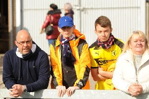 From left, dad Stuart, Lee, his brother Cameron, and mum Michelle, at the Forfar game on Saturday.