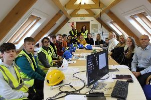 Built Environment students from Fife College are pictured during their recent visit to the construction site of works to expand Velux's Glenrothes headquarters