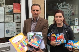 MP Stephen Gethins and Toy Drive founder Victoria Leonard.