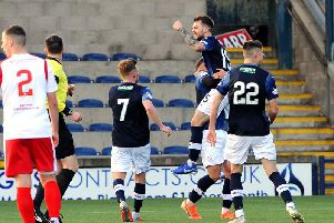 Raith Rovers players celebrate Brad Spencer's equaliser. Pic: Fife Photo Agency